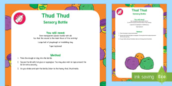 Thud Thud Sound Sensory Bottle - Phase 1, Aspect 1, General Sound Discrimination, Environmental Sounds, phonics, letters and sounds