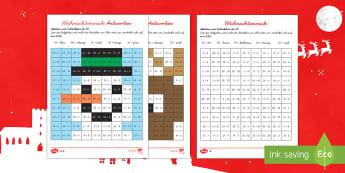 Weihnachtsmosaike Arbeitsblatt: Addieren bis 20 - DE EYFS Christmas, Weihnachten, Mathe, Maths, counting, Addition, Subtraktion, Weihnachtsmann, Schne