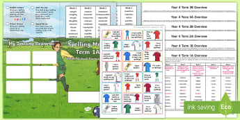 Year 4 Football Themed Spelling Menu Pack - spag, gps, home learning, weekly, lists, test, spelling rules, spelling patterns