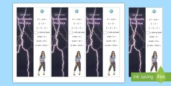 SATs Survival: Year 6 Arithmetic Practice Maths Bookmarks Pack 3 -  sats survivial, sats revision, sats practice, sats practise, maths revision, arithmetic, mental cal