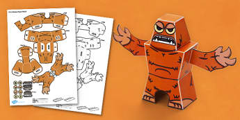 Fluffy Monster 3D Halloween Paper Model - paper,folding,fold,up,toy,toys,activity,class,colour,color,in,build,display.print,out,cut,printable,fun,model,stand,cube,role,play,playing,prop,props,drama,display,halloween,monster