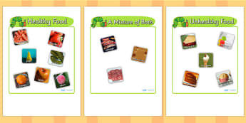 Healthy Eating Sorting Game with Photos to Support Teaching on The Very Hungry Caterpillar