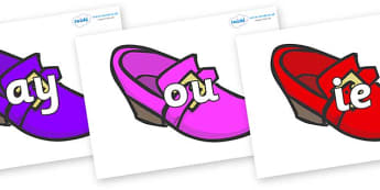 Phase 5 Phonemes on Shoes - Phonemes, phoneme, Phase 5, Phase five, Foundation, Literacy, Letters and Sounds, DfES, display