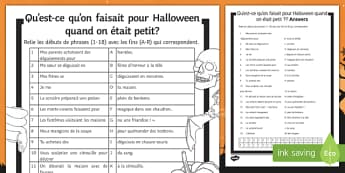 Halloween Imperfect Tense Match Up Activity Sheet, worksheet