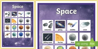 Space Vocabulary Poster Detailed Images - space, space display