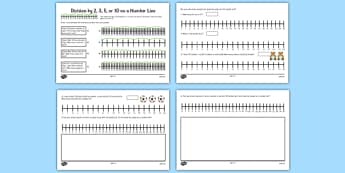 Multiplication and Division on a Number Line Mixed Division by 2,3,5 and 10 on a Number Line - number line