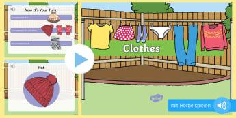 Kleidung: Englischer Wortschatz mit Hörbeispielen PowerPoint Präsentation - Kleider, anziehen, Aussprache, Englisch, Jahreszeiten