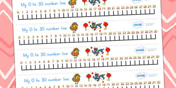 Chinese New Year Number Line 0-30 - chinese new year, numberline