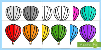 Editable Hot Air Balloons 2 per A4 Plain Arabic/English - Editable Hot Air Balloons 2 per A4-Plain - Hot air balloon, balloon, display, poster, editable, labe