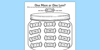 One More One Less Sweet Counting Worksheet / Activity Sheet- count, numeracy, worksheet, One more, one less, Numbers to 20, counting