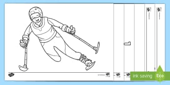 Winter Paralympics Coloring Activity Sheets - Alpine Skiing, Cross Country Skiing, Biathlon, Wheelchair Curling, Ice Sledge Hockey, Snowboarding