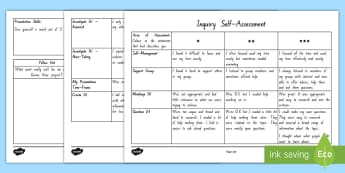 Inquiry Self Assessment Activity - inquiry, genius hour, passion project, topic studies, personal investigation, reserach, presentation