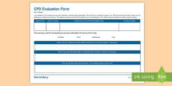 SEN CPD Evaluation Form - New SENCo Handbook -Secondary, training, CPD, professional development