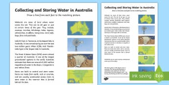 Collecting and Storing Water in Australia Read and Picture Match Worksheet / Activity Sheet-Australia - Water in Australia, Australia