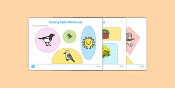 Backyard Habitat Cutting Skills Worksheet - australia, Science, Year 1, Habitats, Australian Curriculum, Backyard, Living, Living Adventure, Environment, Living Things, Animals, Plants, Cutting Skills, Fine Motor