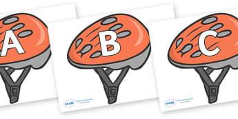 A-Z Alphabet on Bike Helmets - A-Z, A4, display, Alphabet frieze, Display letters, Letter posters, A-Z letters, Alphabet flashcards