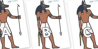 A-Z Alphabet on Egyptian God - A-Z, A4, display, Alphabet frieze, Display letters, Letter posters, A-Z letters, Alphabet flashcards