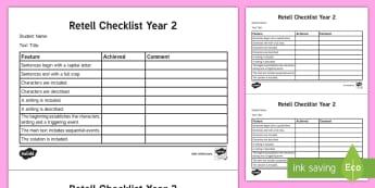 Year 2 Retell Checklist - English curriculum, writing, literacy, Assessment, retell