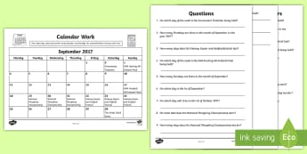 Problem Solving - Calendar Work September 20 Activity Sheet - Time, Ireland,Irish, Worksheet Keywords