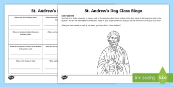 St Andrew's Day Class Bingo - Scotland, Saints, Patron Saints, November, Scottish Events,Scottish