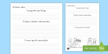 Ficha de actividad: Preguntas sobre la lectura - No ficción - lectura, no ficción, ficción, comprensión lectora, comprensión, preguntas, escritura, respuestas