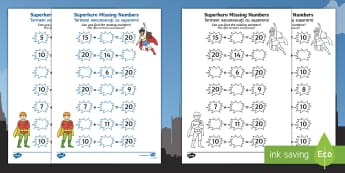 Superhero Missing Numbers Worksheet / Activity Sheet English/Romanian - Number bonds, pair, total, 10, 20, inverse, solve, reason, maths, numeracy, EAL, worksheet