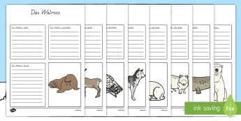 Polartiere Informationsposter Schreibvorlagen - Polargebiet, Winter, Wintertiere, Polartiere, Arktis, Schreibvorlage, German