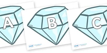 A-Z Alphabet on Diamonds - A-Z, A4, display, Alphabet frieze, Display letters, Letter posters, A-Z letters, Alphabet flashcards