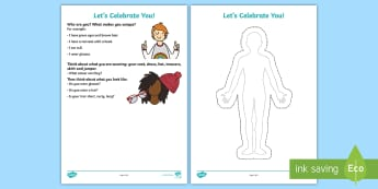 Lets Celebrate You Activity Sheet - YOUNG PEOPLE, PEER PRESSURE, RELATIONSHIPS, IDENTITY, FEELINGS, EMOTIONS, PSHCE