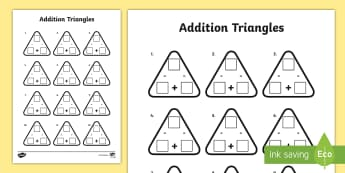 Year 3 Addition and Subtraction Triangles Activity Sheet - addition, subtraction, triangles, activity sheet, worksheet, adding, take away, maths, traingle, add