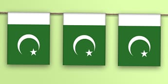 Pakistan Flag Display Bunting - countries, geography, display