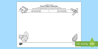 Found Object Detectives Activity Sheet Arabic/English - found art, art and design, sculpture, goldsworthy, nature sculpture, ks1, worksheet, EAL, Arabic.,Ar