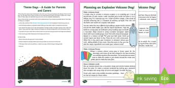Volcano Theme Day Worksheet / Activity Sheet - days in, family, holidays, parents, science, worksheet