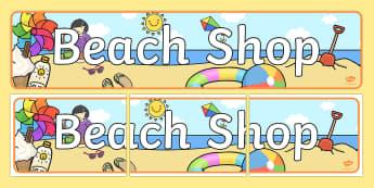 Beach Shop Display Banner - Seaside Souvenir Shop Banner, sea, seaside, display banner, Under the sea, sea, seaside, topic, wate