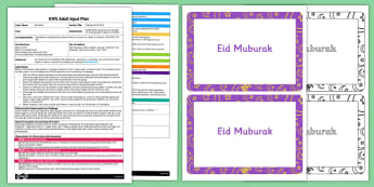 Making an Eid Card EYFS Adult Input Plan Template and Resource Pack