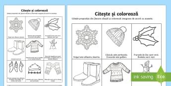 Iarna - Citește și colorează - iarna, citire, lectură, evaluarea competenei de lectură, iarnă, materiale, fișe, română,Romani