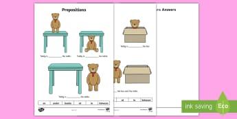 Teddy Prepositions Worksheet / Activity Sheet - UAE, ADEC, MOE, prepositions, preposition, worksheet / activity sheet, fill in, missing words, blanks,