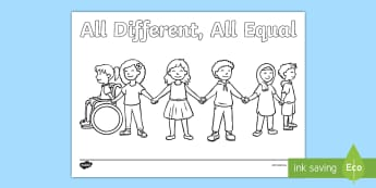 All Different, All Equal Anti-Bullying Week Colouring Page - Key Stage One, Colours, Design, Activity,