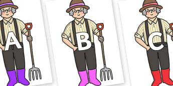 A-Z Alphabet on Enormous Turnip Farmer - A-Z, A4, display, Alphabet frieze, Display letters, Letter posters, A-Z letters, Alphabet flashcards