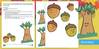 Little Acorns and Saplings Busy Bag Resource Pack for Parents - oak, twinkl fiction, twinkl originals, big, small