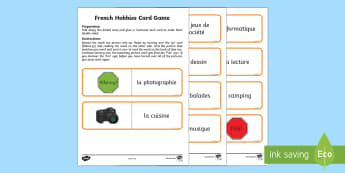Favourite Hobbies Card Game English/French - French Games, french hobbies, french free time, french holiday activities, independent French games,