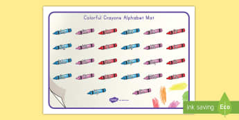 Colorful Crayons Alphabet Mat - display, letters, sounds, lower case, upper case, handwriting, early childhood, writing, pencil