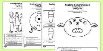 Reading Comprehension Five Key Words Activity Sheets Arabic Translation - following instructions, reading, comprehension, , worksheet