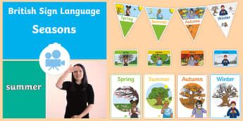 Seasons in British Sign Language (BSL) Video Pack - spring, summer, autumn, winter, deaf-friendly, deaf, D/deaf, poster, bunting, flashcards
