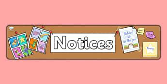 Notices Display Banner - notices, notice board, banner, header