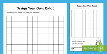 Design Your Own Robot Template - Design template, design a robot template, robot template, design sheets, robot design sheets