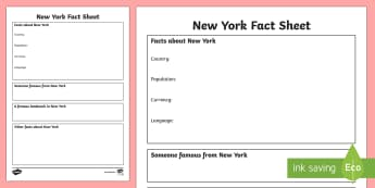 New York Factsheet Writing Template - new york, new york fact sheet, new york fact file, new york worksheet, american capital, capital cities, ks2 places