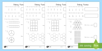 Fractions and Ordering Differentiated Activity Sheets - New Zealand, Maths, Fractions, Ordering Fractions