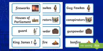 The Gunpowder Plot Topic Word Cards - Story, Bonfire night, word card, flashcards, Guy Fawkes, bonfire, Houses of Parliament, plot, treason, fireworks, Catholic, Protestant, James I