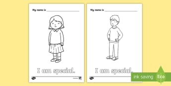 I Am Special Colouring Page - SPHE, myself, i am special, RSE, relationship and sexuality education, self esteem, infants, ,Irish